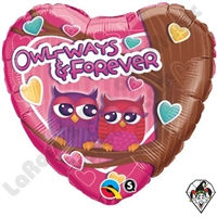 18 Inch Heart Owl-Ways & Forever Foil Balloon Qualatex 1ct