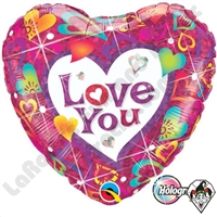 Qualatex 18 Inch Heart Love You Foil Holographic Balloon 1ct