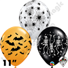 Qualatex 11 Inch Round Spooky Design Assortment Balloons 50ct