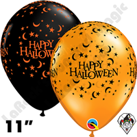 Qualatex 11 Inch Round Halloween Moons And Stars Balloons 50ct