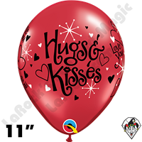 Qualatex 11 Inch Round Love You Hugs & Kisses Balloons 50ct