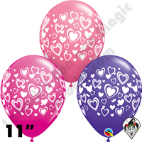 11 Inch Round Assortment Double Hearts Wrap Special Balloon Qualatex 50ct