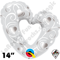 Qualatex 14 Inch Shape Hearts & Filigree Pearl White Foil Balloon 1ct