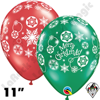 Qualatex 11 Inch Round Christmas Snowflakes Assortment Balloons 50ct