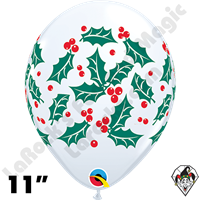 Qualatex 11 Inch Round Holly & Berries White  Balloons 50ct