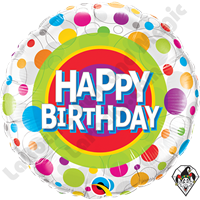 Qualatex 18 Inch Round Happy Birthday Colorful Dots Foil Balloon