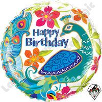 18 Inch Round Birthday Peacock Foil Balloon Qualatex 1ct.