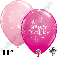 Qualatex 11 Inch Round Birthday Sparkle Pink & Wild Berry Balloons 50ct