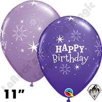 Qualatex 11 Inch Round Birthday Sparkle Spring Lilac & Purple Violet Balloons 50ct