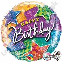 18 Inch Round Birthday Lightning Bolt & Stars Foil Balloon