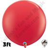 Qualatex 3 Foot Round Standard Red Balloons 2ct