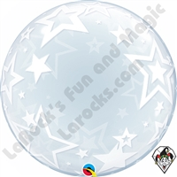 24 Inch Stylish Stars Deco Bubble Balloon Qualatex 1ct