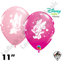 Qualatex 11 Inch Round Disney Minnie Mouse Baby Hearts Wild Berry & Pink Balloons 50ct