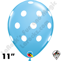Qualatex 11 Inch Round Big Polka Dots Pale Blue Balloons 50ct