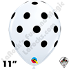 Qualatex 11 Inch Round Big Polka Dots White With Black Dots Balloons 50ct
