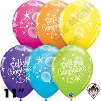 Qualatex 11 Inch Round Feliz Cumpleaños Globos Tropical Assortment Balloons 50ct