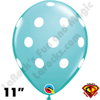 Qualatex 11 Inch Round Big Polka Dots Caribbean Blue & White Balloons 50ct