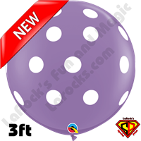 Qualatex 3 Foot Round Round Big Polka Dots Spring Lilac/White Balloons 2ct