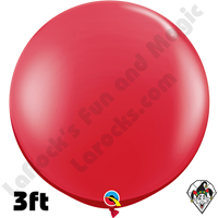 Qualatex 3 Foot Round Jewel Ruby Red Balloons 2 pack