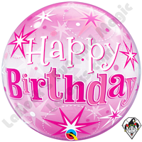 22 Inch Birthday Pink Starburst Sparkle Bubble Qualatex 1ct