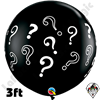 Qualatex 3 Foot Round Question Marks Onyx Black Balloons 2ct