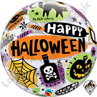 Qualatex 22 Inch Halloween Messages and Icons Bubble Balloon 1ct