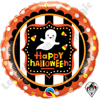 18 Inch Round Halloween Ghost & Candy Corn Foil Balloon Qualatex 1ct