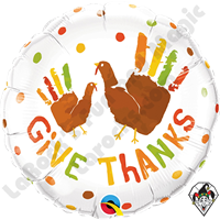 18 Inch Round Give Thanks Turkey Hands Foil Balloon Qualatex 1ct.