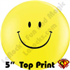 Qualatex 5 Inch Round Smile Yellow Top Print Balloons 100ct