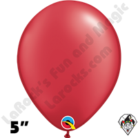 Qualatex 5 Inch Round Pearl Ruby Red Balloons 100ct