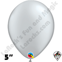 Qualatex 5 Inch Round Metallic Silver Balloons 100ct