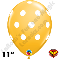 Qualatex 11 Inch Round Big Polka Dots Golden Rod & White Dots Balloons 50ct
