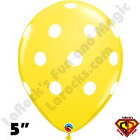 Qualatex 5 Inch Round Big Polka Dot Yellow White Dots Balloons 100CT