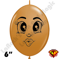 Qualatex 6 inch Quick Link Betsy Mocha Face Balloons by 25ct