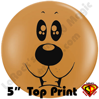 Qualatex 5 Inch Round Bear Face Mocha Brown Top Print Balloon by Juan Gonzales 100ct