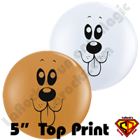 Qualatex 5 Inch Round Top Print Puppy Face Balloon by Juan Gonzales