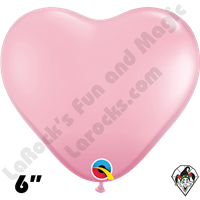 6 Inch Heart Standard Pink Balloons Qualatex 100ct