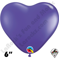 Qualatex 6 Inch Heart Jewel Quartz Purple Balloons 100ct