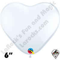 Qualatex 6 Inch Heart Standard White Balloons 100ct