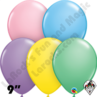 9 Inch Round Assortment Pastel Balloons Qualatex 100ct