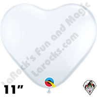 Qualatex 11 Inch Heart Standard White Balloons 100ct