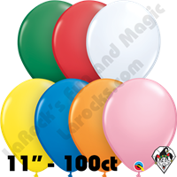 11 Inch Round Assortment Standard With White Balloon Qualatex 100ct