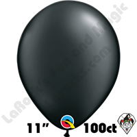 Qualatex 11 Inch Round Pearl Onyx Black 100ct