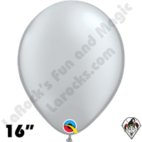Qualatex 16 Inch Round Metallic Silver Balloons 50ct