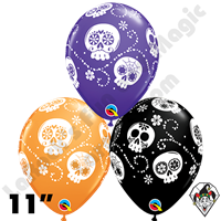 11 Inch Round Assortment Sugar Skulls Special Qualatex Balloons 50ct