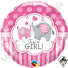 18 Inch Round It's A Girl Elephants Foil Balloon Qualatex 1ct.