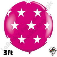 Qualatex 3 Foot Round Big Stars-A-Round Wild Berry Balloons 2ct
