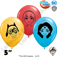 Qualatex 5 Inch Round Assortment DC Super Hero Girls Balloons 100ct