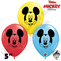 Qualatex 5 Inch Round Mickey Mouse Face Assortment Balloons 100ctAssortment