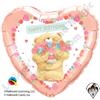 Qualatex 18 Heart Round Forever Friends - Birthday Bear Foil Balloon